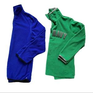 TWO Fleece Sweater Green Blue Boys 10